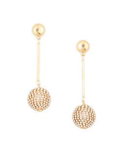 Rhinestone Disco Ball Drop Earrings - 3122062920045