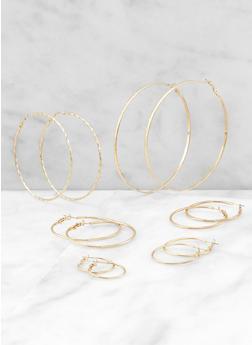 Set of 6 Multi Size Metallic Hoop Earrings - 3122062920096
