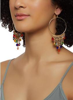 Beaded Fringe Hoop Earrings - 3122062920333