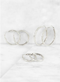 Textured Metallic Hoop Earring Trio - 3122062920351