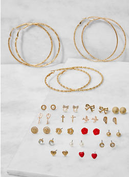 Set of 20 Assorted Stud and Hoop Earrings - 3122062920746