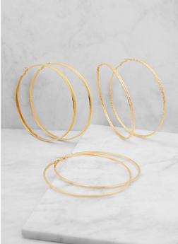 Jumbo Glitter Hoop Earring Trio - 3122062920758