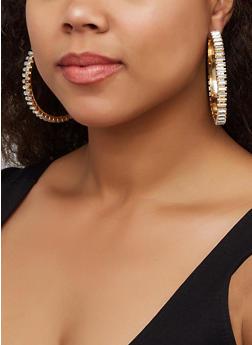 Thick Rhinestone Hoop Earrings - 3122062920810