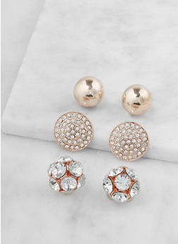 Set of 3 Metallic Rhinestone Studs - 3122062920815