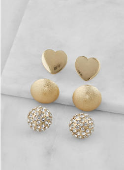 Rhinestone Dome Earrings Set - 3122062920822