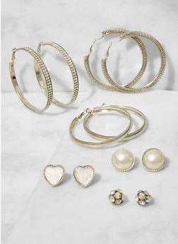 Assorted Set of Hoop and Stud Earrings - 3122062920827