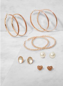 Set of 6 Rhinestone Stud and Hoop Earrings - 3122062920828