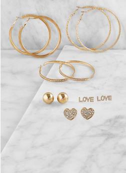 Set of 6 Assorted Hoop and Stud Earrings - 3122062920832
