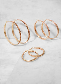 Rhinestone Metallic Hoop Earrings Trio - 3122062920887