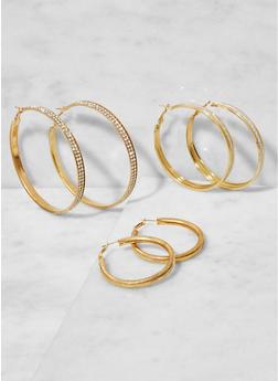 Rhinestone Metallic Hoop Earrings Trio - 3122062920887
