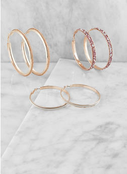 Oversized Hoop Earring Trio - 3122062920888