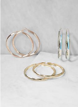 Trio of Large Metallic Hoop Earrings - 3122062920889