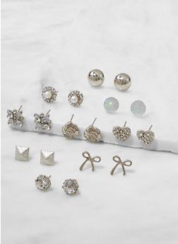 Set of 9 Assorted Stud Earrings - 3122062920947