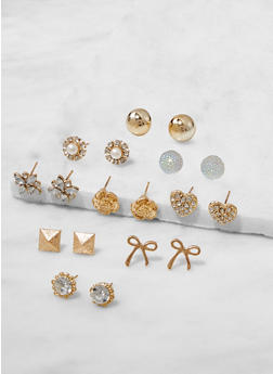 Set of 9 Assorted Stud Earrings - 3122062920947