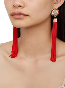 Rhinestone Circle Tassel Drop Earrings - 3122062921075