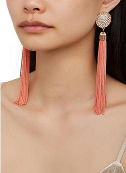 Rhinestone Circle Tassel Drop Earrings - 3122062921075