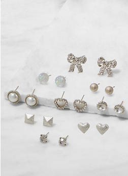 Set of 9 Assorted Stud Earrings - 3122062921179
