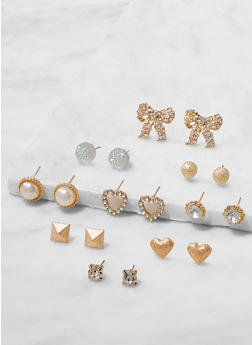 Set of 9 Assorted Stud Earrings - 3122062921179