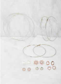 Oversized Hoops and Stud Earrings Set - 3122062921181