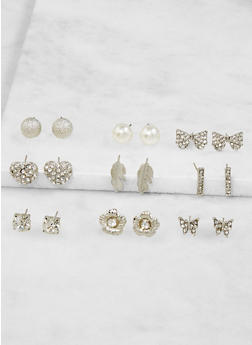 Set of 9 Assorted Stud Earrings - 3122062921182