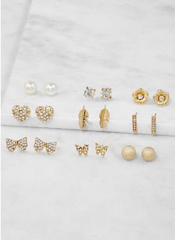 Set of 9 Assorted Stud Earrings - 3122062921182
