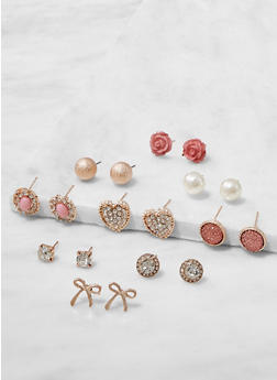 Set of 9 Rhinestone and Faux Pearl Stud Earrings - 3122062921608