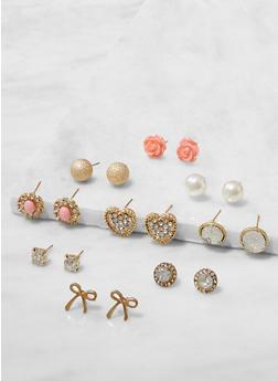 Set of 9 Rhinestone and Faux Pearl Stud Earrings - 3122062921608