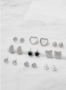 Set of Rhinestone and Faux Pearl Stud Earrings - 3122062921610