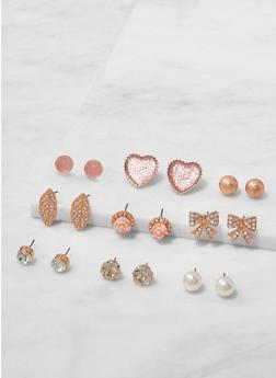 Set of Rhinestone and Faux Pearl Stud Earrings - 3122062921610