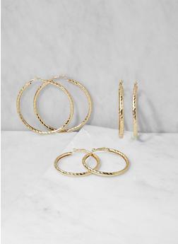 Trio of Metallic Hoop Earrings - 3122062921762