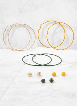 Set of 6 Assorted Stud and Hoop Earrings - 3122062921907