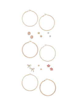 Assorted Hoop and Rhinestone Bow Stud Earrings Set - 3122062922063