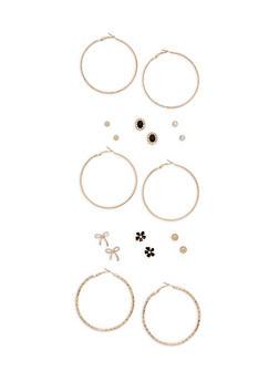 Assorted Hoop and Stud Earrings Set - 3122062922063