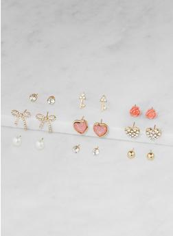 Assorted Rhinestone Stud Earrings Set - 3122062922073