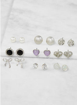 Assorted Metallic Rhinestone Stud Earrings Set - 3122062922140
