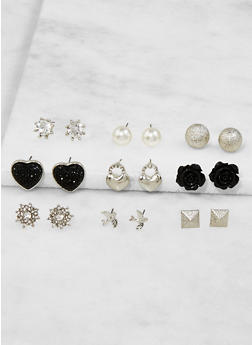 Set of 9 Assorted Stud Earrings - 3122062922142