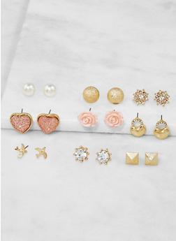 Set of 9 Assorted Stud Earrings - 3122062922142