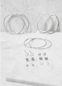 Assorted Hoop and Metallic Heart Stud Earrings Set - 3122062922367