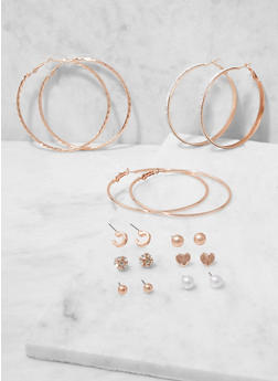 Assorted Hoop and Stud Earrings Set - 3122062922367