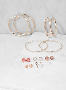 Set of 9 Metallic Hoop and Stud Earrings - 3122062922413