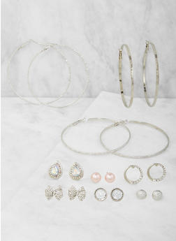 Assorted Rhinestone Stud and Hoop Earrings Set - 3122062922455