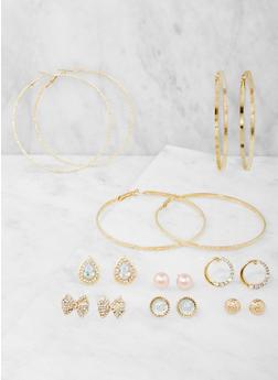 Assorted Rhinestone Stud and Hoop Earrings Set - 3122062922455