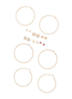 Set of 9 Hoop and Stud Earrings - 3122062922736