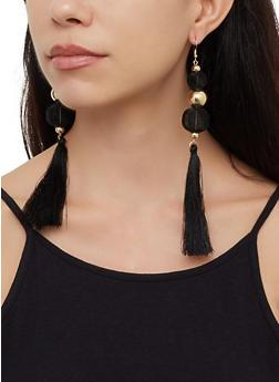 Mesh and Metallic Ball Drop Earrings - 3122062923027