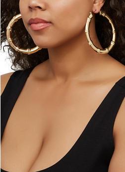 Metallic Bamboo Hoop Earrings | 3122062923151 - 3122062923151