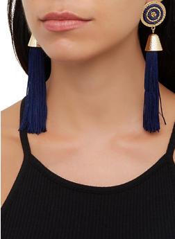 Beaded Metallic Disc Tassel Earrings - 3122062923190