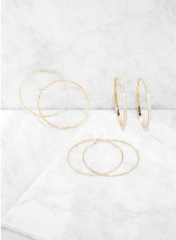 Oversized Shimmer Hoop Earring Trio - 3122062923581