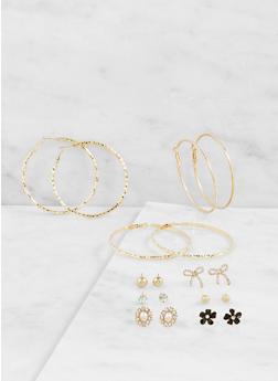 Assorted Hoop and Flower Stud Earrings Set - 3122062923602