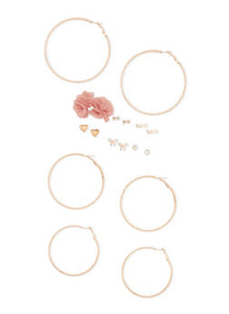 Set of 9 Textured Hoop and Stud Earrings - 3122062923705