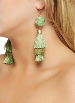Thread Wrapped Bead Tassel Earrings - 3122062923794